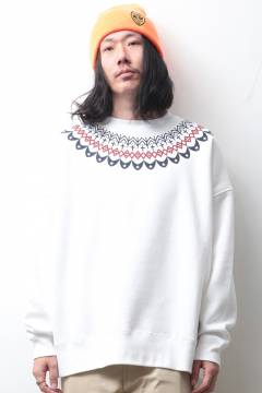 "ANIMALIA AN20A-SW06 ""BLACKFOOT""  Big silhouette Crew Neck Sweat  WHITE"