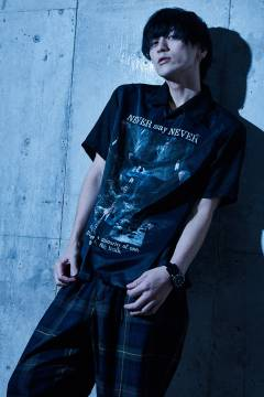 Zephyren(ゼファレン) PHOTO PRINT SHIRT S/S - NEVER say NEVER - BLACK / PAISLEY