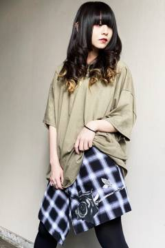 【予約商品】GoneR Rolled Shirts skirt Black Check