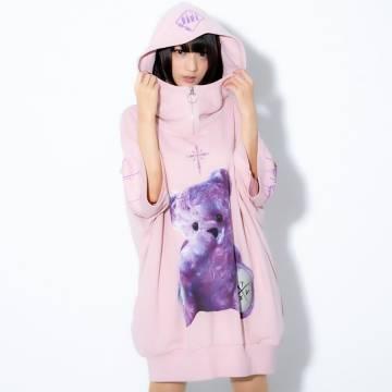 TRAVAS TOKYO Furry bear half zip high neck H/S hoodie PINK