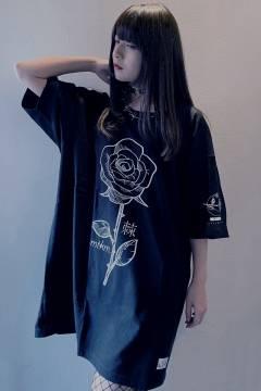 アマツカミ 棘薔薇/Rose Needle T-Shirts Black