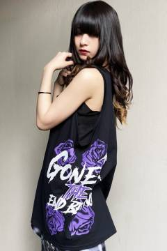 【予約商品】 GoneR Rose Logo Tank-Top Black/Purple