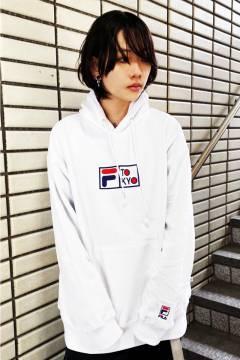 FILA TOKYO ユニセックス プルオーバーフーディ WHITE