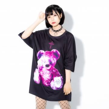 TRAVAS TOKYO Bright furry bearビッグTシャツ Black×Pink