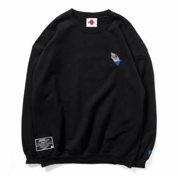 PUNK DRUNKERS 鮫人刺繍トレーナー - BLACK