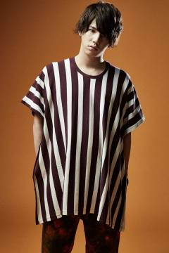 Zephyren(ゼファレン)PONCHO BIG STRIPE TEE S/S WHITE / BURGUNDY