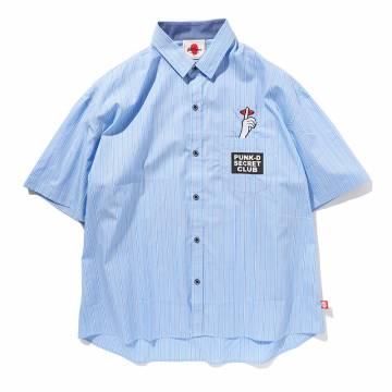 【予約商品】PUNK DRUNKERS シークレットストライプシャツ - LT.BLUE