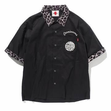 【予約商品】PUNK DRUNKERS 豹シャツ - BLACK/GRAY