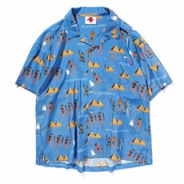【予約商品】PUNK DRUNKERS エジプトアロハシャツ - BLUE