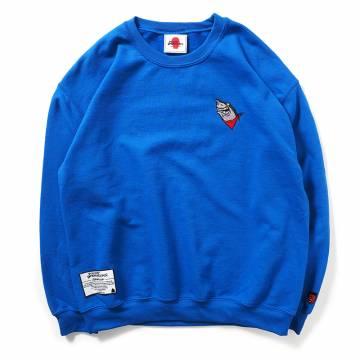 PUNK DRUNKERS 鮫人刺繍トレーナー - BLUE