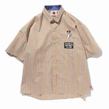 【予約商品】PUNK DRUNKERS シークレットストライプシャツ - BEIGE
