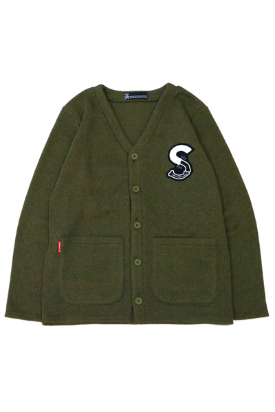 SABBAT13 S‐BONE KNIT CARDIGAN (オリーブ) OLIVE